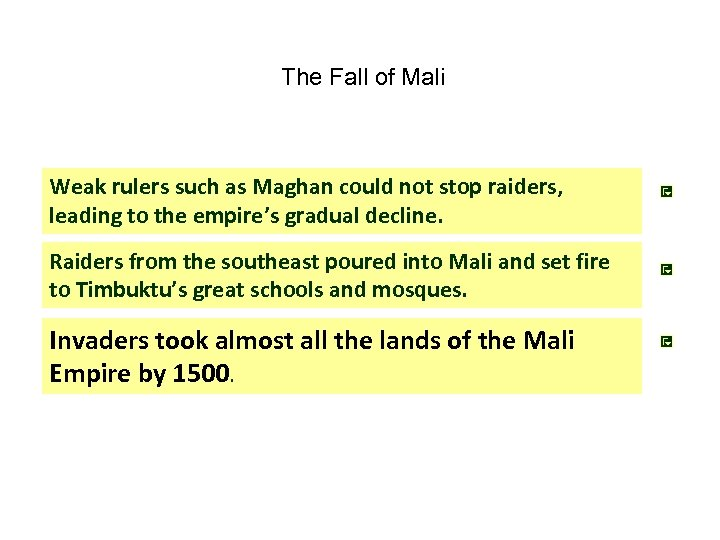 The Fall of Mali Weak rulers such as Maghan could not stop raiders, leading