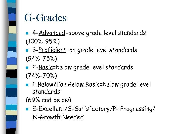 G-Grades 4 -Advanced=above grade level standards (100%-95%) n 3 -Proficient=on grade level standards (94%-75%)