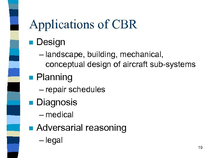 Applications of CBR n Design – landscape, building, mechanical, conceptual design of aircraft sub-systems