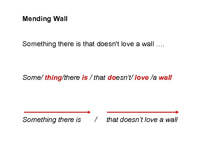 Mending Wall Something there is that doesn't love a wall …. Some/ thing/there is
