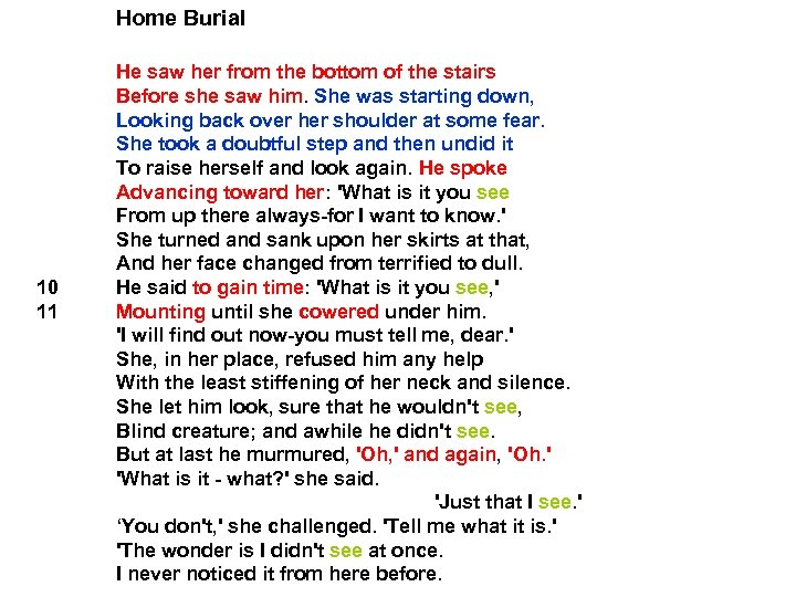 Home Burial 10 11 He saw her from the bottom of the stairs Before