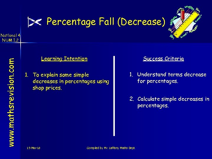Percentage Fall (Decrease) www. mathsrevision. com National 4 NUM 1. 2 Learning Intention 1.