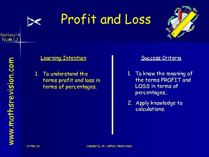 Profit and Loss www. mathsrevision. com National 4 NUM 1. 2 Learning Intention Success