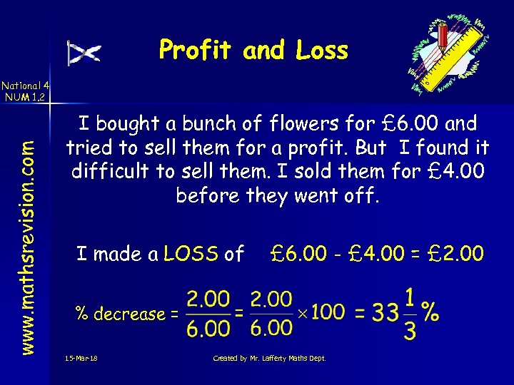 Profit and Loss www. mathsrevision. com National 4 NUM 1. 2 I bought a