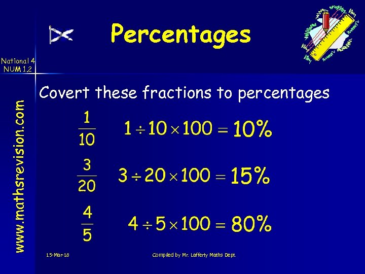 Percentages www. mathsrevision. com National 4 NUM 1. 2 Covert these fractions to percentages