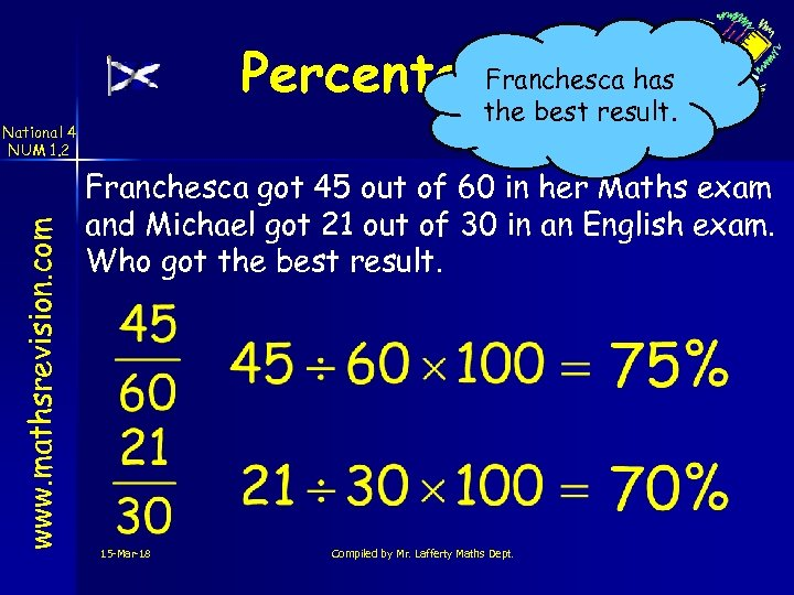 Franchesca has Percentages the best result. www. mathsrevision. com National 4 NUM 1. 2