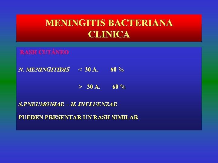 MENINGITIS BACTERIANA CLINICA RASH CUTÁNEO N. MENINGITIDIS < 30 A. > 30 A. 80