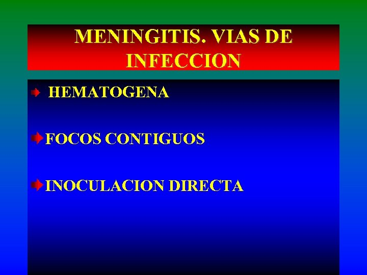 MENINGITIS. VIAS DE INFECCION HEMATOGENA FOCOS CONTIGUOS INOCULACION DIRECTA