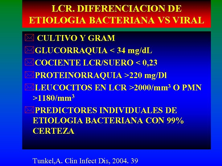 LCR. DIFERENCIACION DE ETIOLOGIA BACTERIANA VS VIRAL * CULTIVO Y GRAM *GLUCORRAQUIA < 34