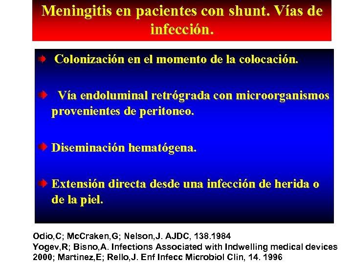 Meningitis en pacientes con shunt. Vías de infección. Colonización en el momento de la