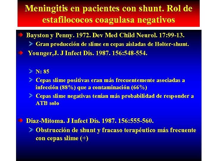 Meningitis en pacientes con shunt. Rol de estafilococos coagulasa negativos Bayston y Penny. 1972.
