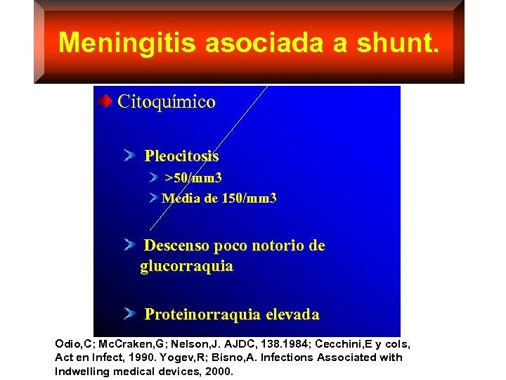 Meningitis asociada a shunt. Citoquímico Pleocitosis >50/mm 3 Media de 150/mm 3 Descenso poco