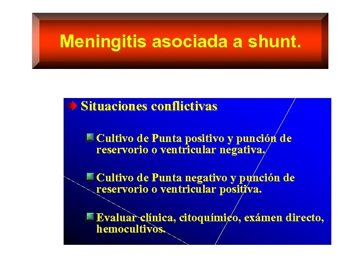 Meningitis asociada a shunt. Situaciones conflictivas Cultivo de Punta positivo y punción de reservorio