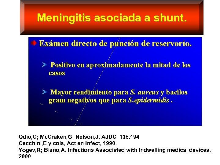 Meningitis asociada a shunt. Exámen directo de punción de reservorio. Positivo en aproximadamente la