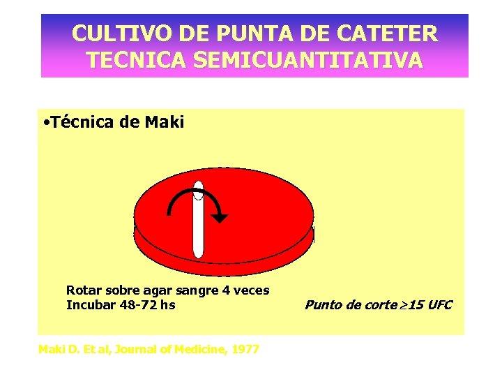 CULTIVO DE PUNTA DE CATETER TECNICA SEMICUANTITATIVA • Técnica de Maki Rotar sobre agar