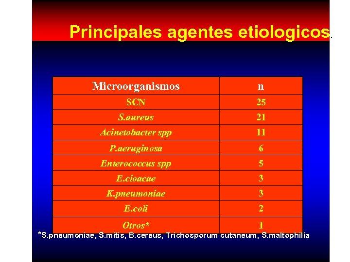 Principales agentes etiologicos. Microorganismos n SCN 25 S. aureus 21 Acinetobacter spp 11 P.