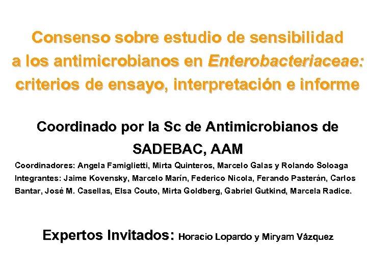 Consenso sobre estudio de sensibilidad a los antimicrobianos en Enterobacteriaceae: criterios de ensayo, interpretación