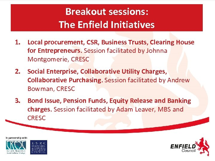 Breakout sessions: The Enfield Initiatives 1. Local procurement, CSR, Business Trusts, Clearing House for