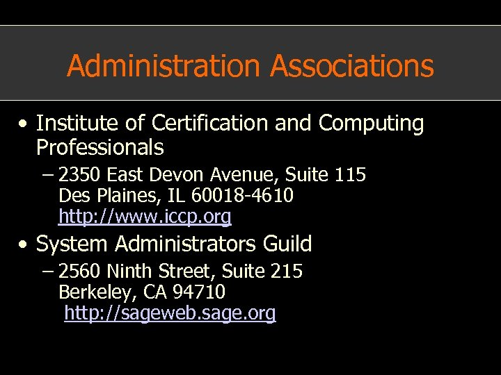 Administration Associations • Institute of Certification and Computing Professionals – 2350 East Devon Avenue,