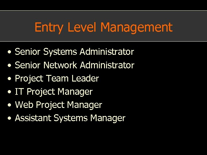 Entry Level Management • • • Senior Systems Administrator Senior Network Administrator Project Team