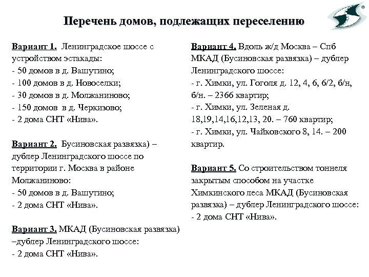 Перечень домов, подлежащих переселению Вариант 1. Ленинградское шоссе с устройством эстакады: - 50 домов