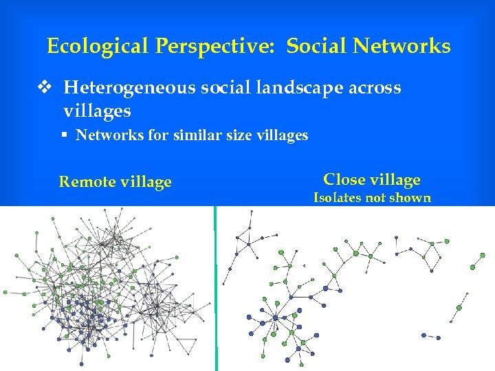 Ecological Perspective: Social Networks v Heterogeneous social landscape across villages § Networks for similar