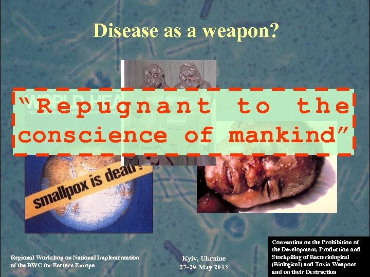 """Disease as a weapon? """"Repugnant to the conscience of mankind"""" Regional Workshop on National"""