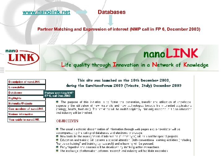www. nanolink. net Databases Partner Matching and Expression of interest (NMP call in FP