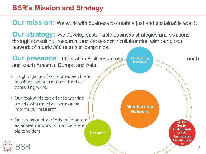 BSR's Mission and Strategy Our mission: We work with business to create a just