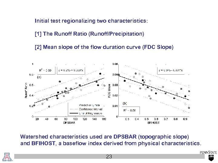 Initial test regionalizing two characteristics: [1] The Runoff Ratio (Runoff/Precipitation) [2] Mean slope of