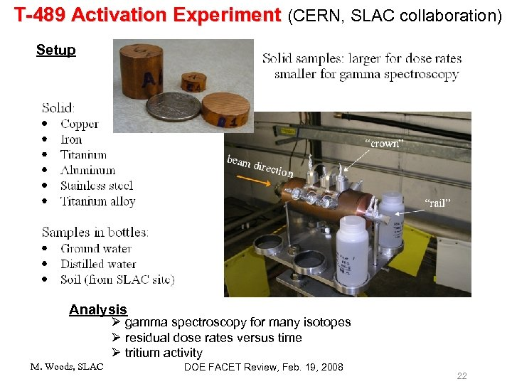 T-489 Activation Experiment (CERN, SLAC collaboration) Setup Analysis Ø gamma spectroscopy for many isotopes