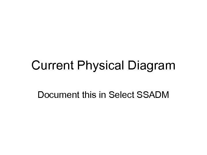 Current Physical Diagram Document this in Select SSADM