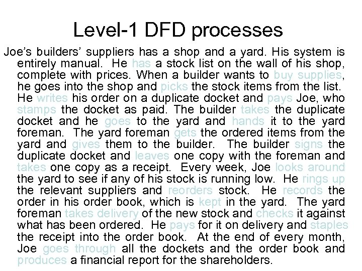 Level-1 DFD processes Joe's builders' suppliers has a shop and a yard. His system