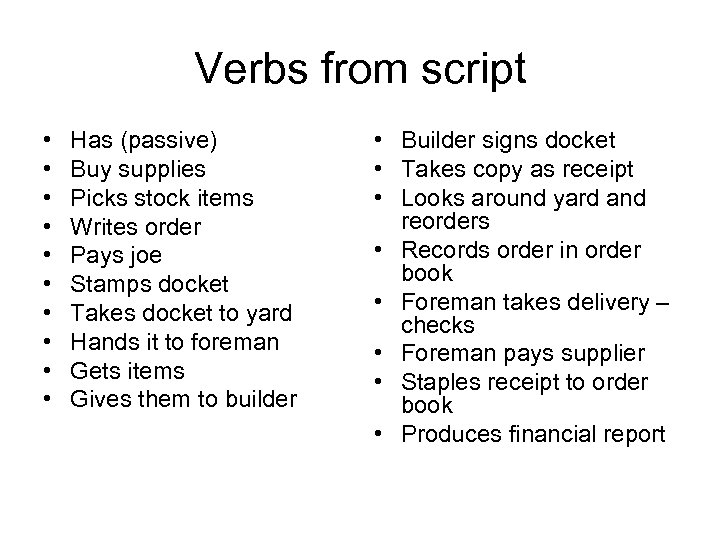 Verbs from script • • • Has (passive) Buy supplies Picks stock items Writes