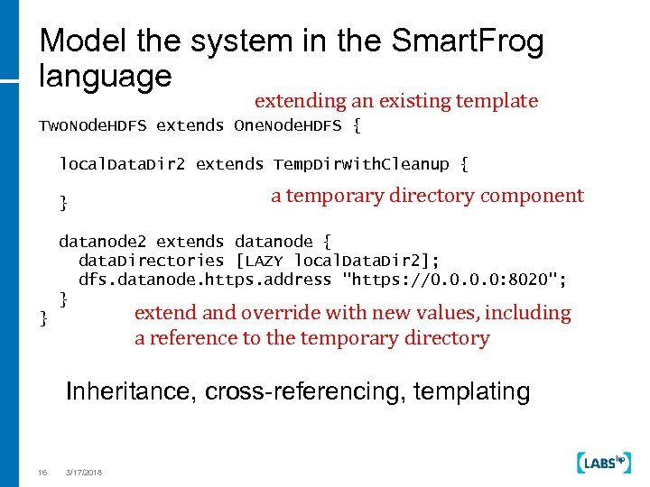 Model the system in the Smart. Frog language extending an existing template Two. Node.