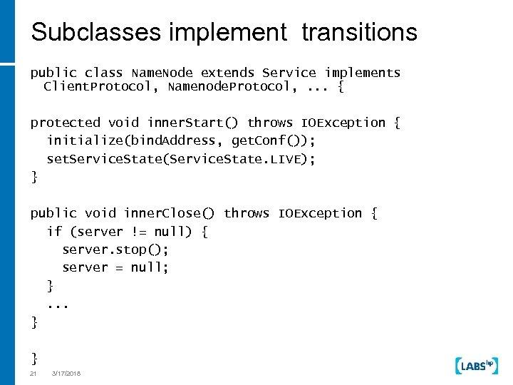 Subclasses implement transitions public class Name. Node extends Service implements Client. Protocol, Namenode. Protocol,