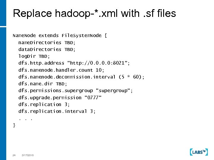 Replace hadoop-*. xml with. sf files Name. Node extends File. System. Node { name.