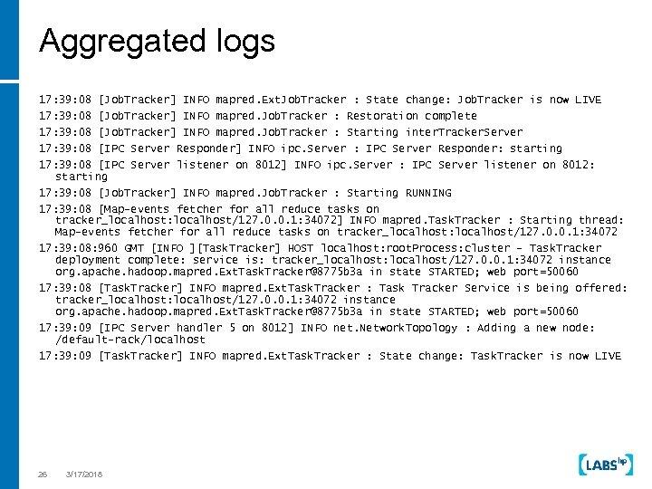 Aggregated logs 17: 39: 08 [Job. Tracker] INFO mapred. Ext. Job. Tracker : State