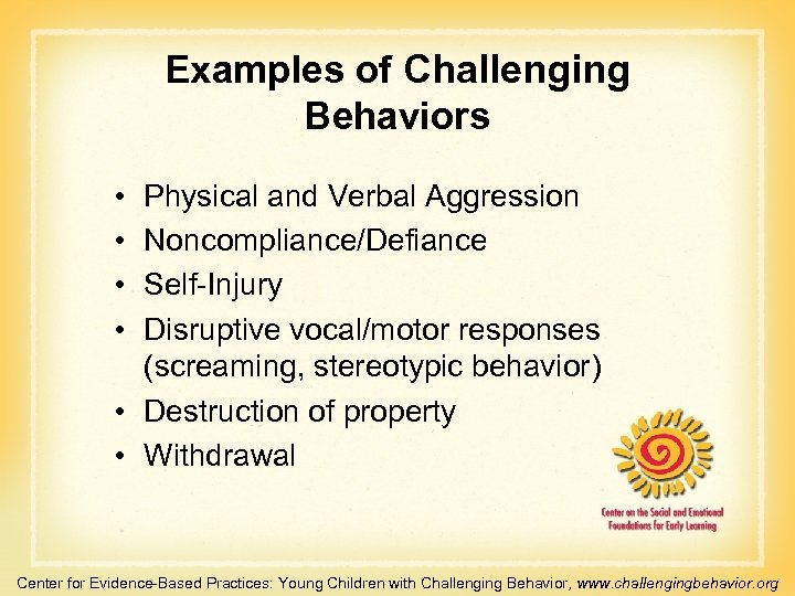 Examples of Challenging Behaviors • • Physical and Verbal Aggression Noncompliance/Defiance Self-Injury Disruptive vocal/motor