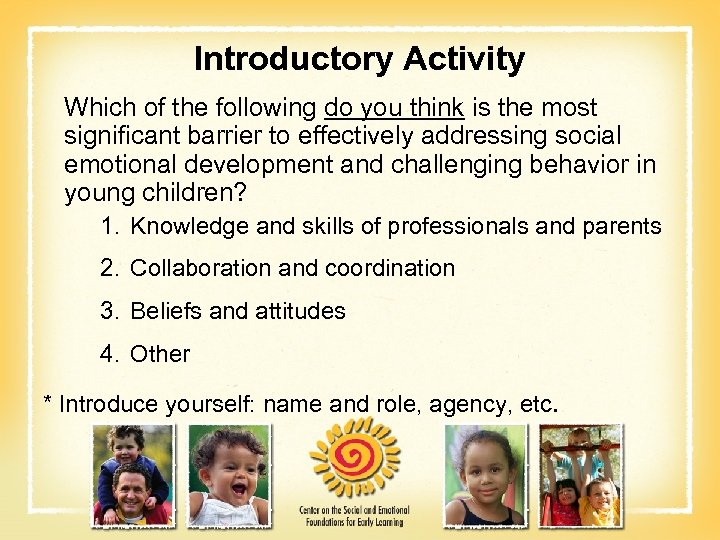Introductory Activity Which of the following do you think is the most significant barrier