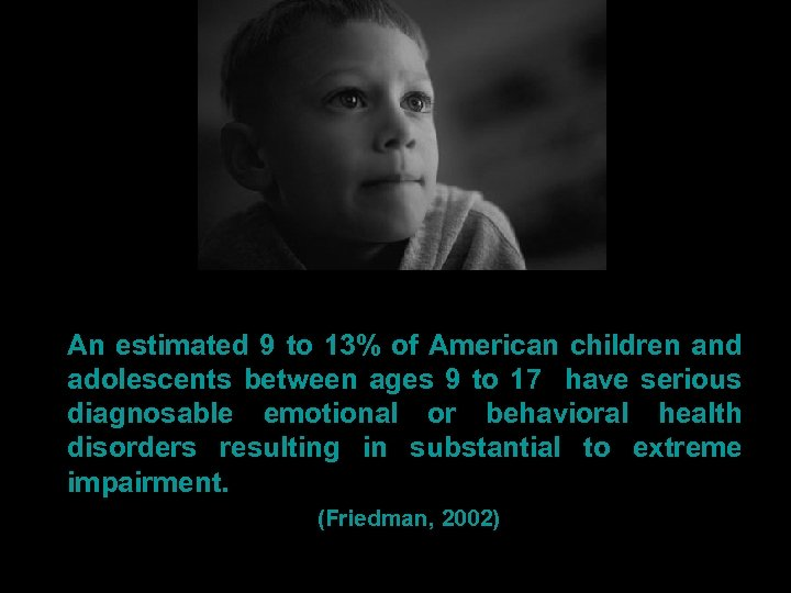 An estimated 9 to 13% of American children and adolescents between ages 9 to