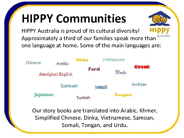 HIPPY Communities HIPPY Australia is proud of its cultural diversity! Approximately a third of