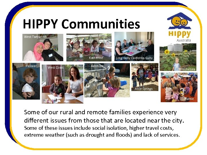 HIPPY Communities West Tamworth Katherine Pioneer West Coast Long Gully California Gully Ashmont Winchelsea