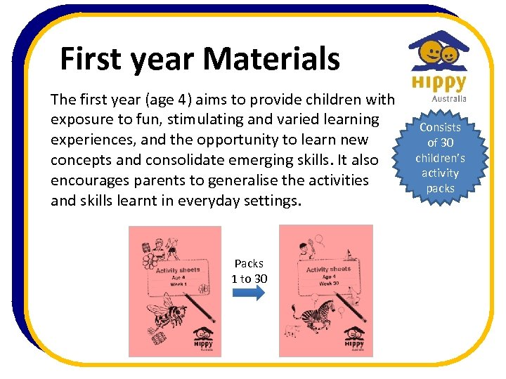 First year Materials The first year (age 4) aims to provide children with exposure