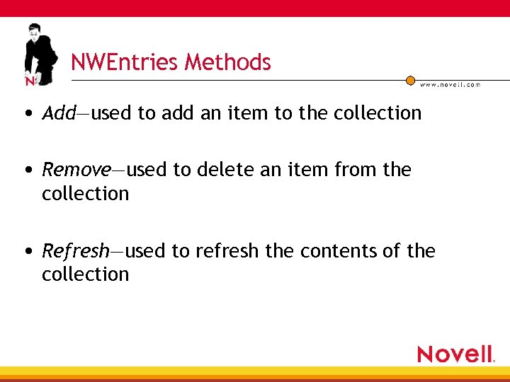 NWEntries Methods • Add—used to add an item to the collection • Remove—used to