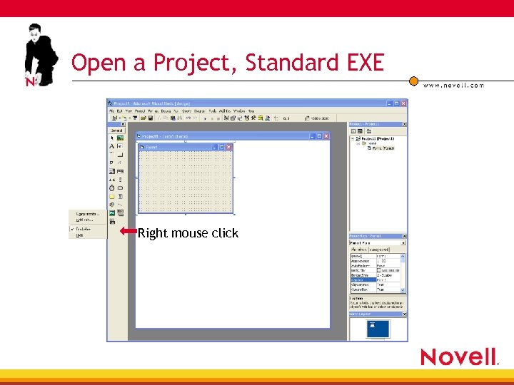Open a Project, Standard EXE Right mouse click