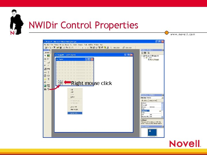 NWIDir Control Properties Right mouse click