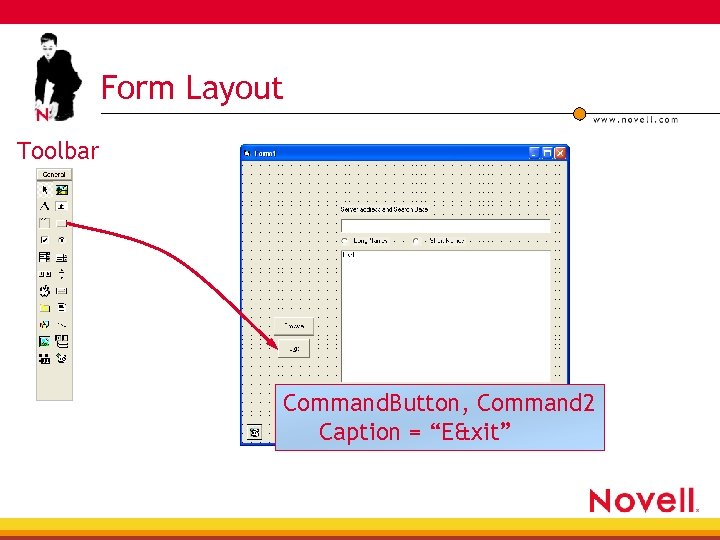 "Form Layout Toolbar Command. Button, Command 2 Caption = ""E&xit"""
