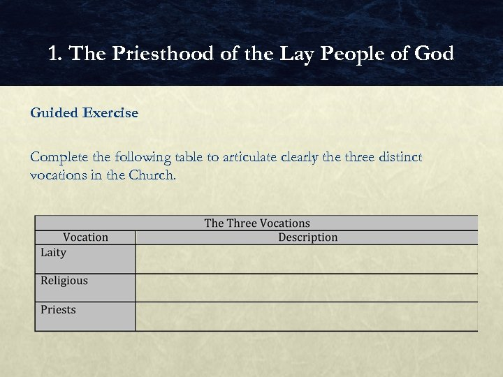 1. The Priesthood of the Lay People of God Guided Exercise Complete the following