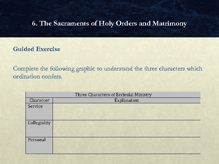 6. The Sacraments of Holy Orders and Matrimony Guided Exercise Complete the following graphic